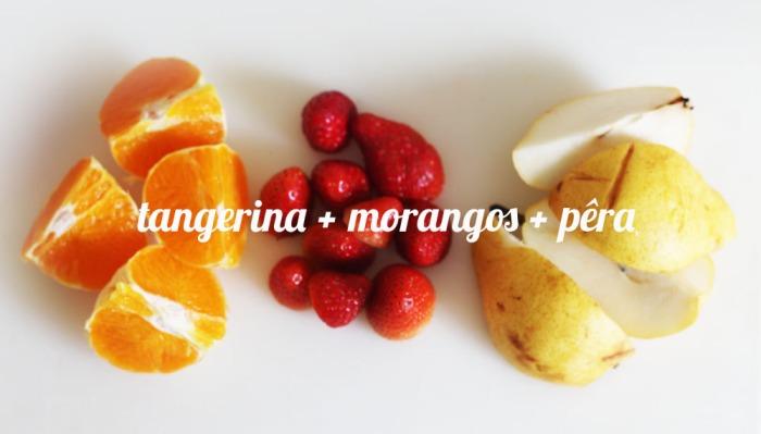 juicing tangerina morangos pera